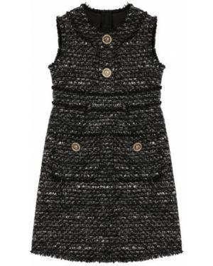 Приталенное серое платье с рукавами твидовое на пуговицах Dolce & Gabbana