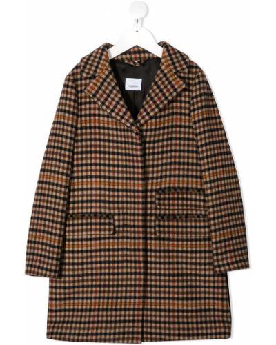 Шерстяное черное длинное пальто в клетку Burberry Kids