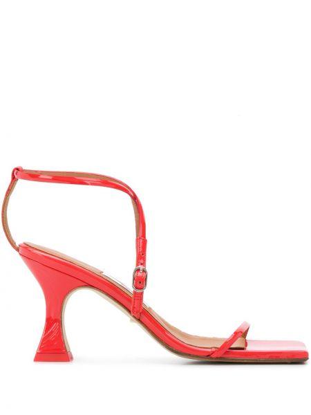 Кожаные оранжевые сандалии с пряжкой на каблуке Miista