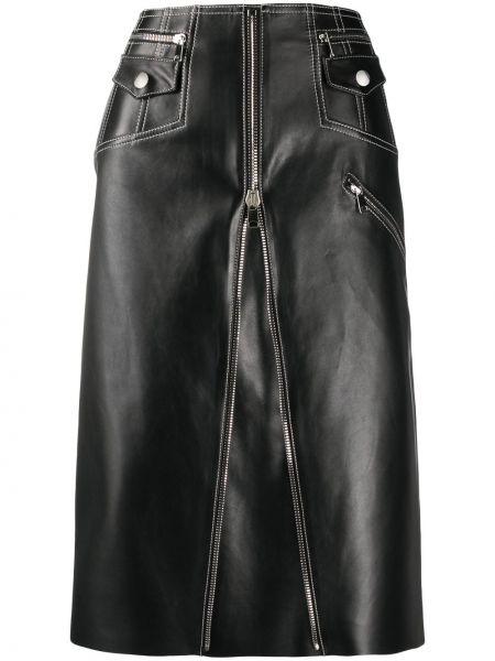 Черная кожаная юбка миди с карманами Alexander Mcqueen