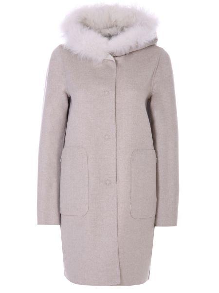 Шерстяное серое пальто с капюшоном двустороннее с декоративной отделкой Manzoni 24