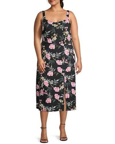 С ремешком черное платье миди из вискозы Vero Moda