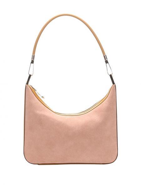 Кожаная розовая сумка на плечо на молнии с карманами Gucci Pre-owned