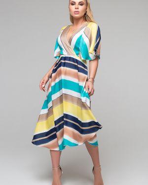 Повседневное шелковое с рукавами платье миди Петербургский Швейный Дом