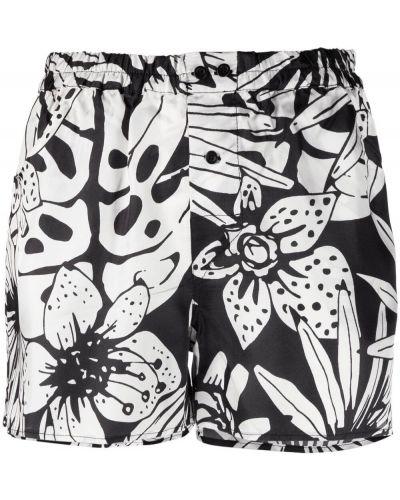 Черные короткие шорты с карманами в цветочный принт Laneus
