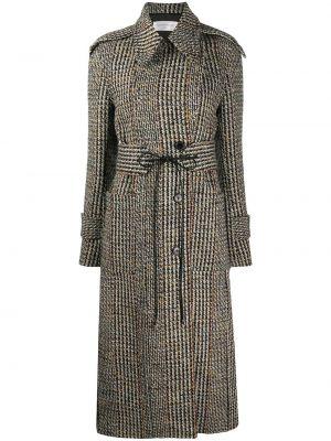 Czarny wełniany długi płaszcz z kołnierzem z kieszeniami Victoria Beckham