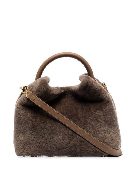 Skórzany z paskiem brązowy torba na ramię Elleme