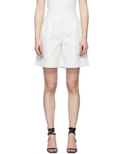 Biały szorty z kieszeniami z prawdziwej skóry wytłoczony Tibi