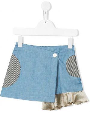Синяя асимметричная джинсовая юбка на пуговицах Owa Yurika