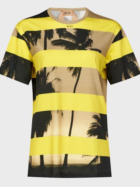 Хлопковая желтая футбольная футболка N°21