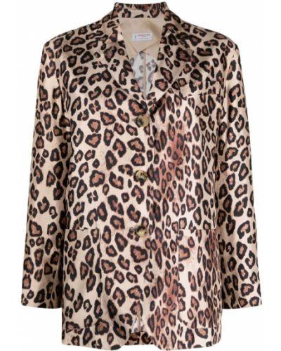 Шелковый коричневый удлиненный пиджак с карманами Alberto Biani