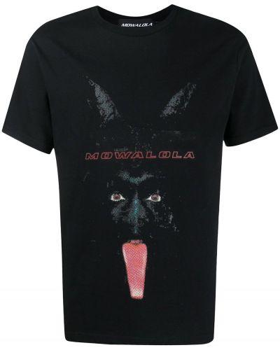 T-shirt bawełniany z printem krótki rękaw Mowalola