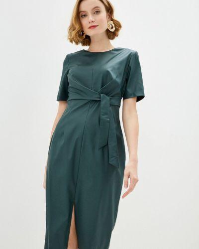 Кожаное зеленое платье Am One