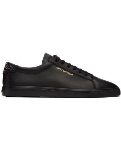Skórzany czarny skórzane sneakersy na sznurowadłach okrągły Saint Laurent