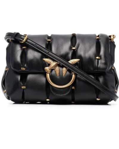 Кожаная сумка через плечо - черная Pinko