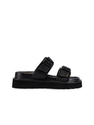 Czarne sandały na platformie skorzane Raye