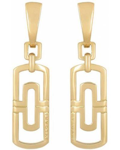 Желтые золотые серьги винтажные с бабочкой Bvlgari