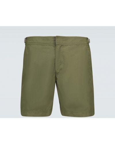 Зеленые шорты для плаванья для полных с сеткой Orlebar Brown