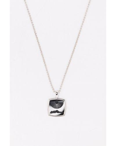 Czarny naszyjnik łańcuch srebrny Tom Wood