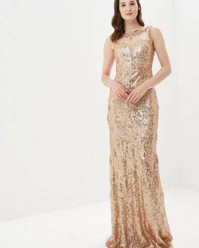 Вечернее платье осеннее золотой Soky & Soka