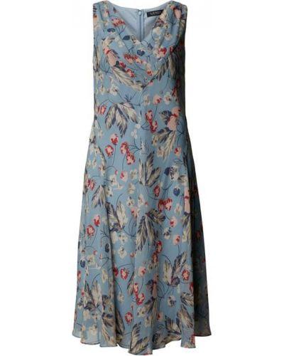 Niebieska sukienka bez rękawów z dekoltem w serek Lauren Ralph Lauren
