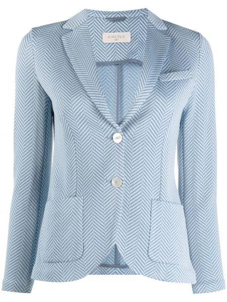Однобортный синий пиджак в полоску Circolo 1901
