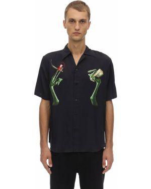 Czarna klasyczna koszula krótki rękaw z wiskozy Sss Worldcorp