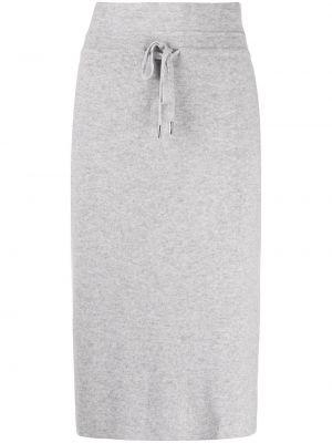 Тонкая серая кашемировая с завышенной талией юбка миди Max & Moi
