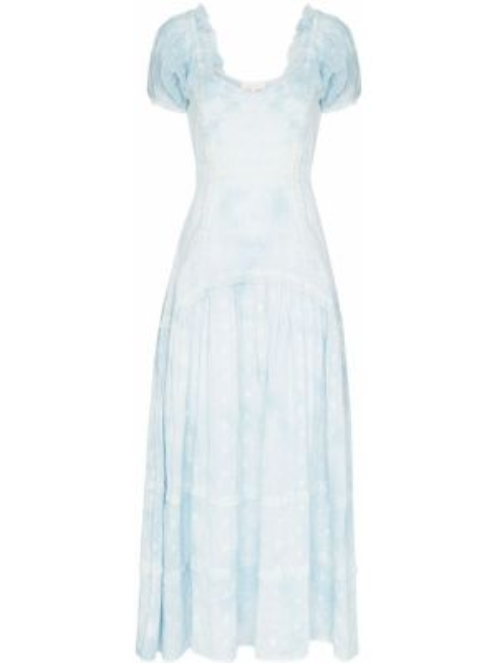 Хлопковое синее плиссированное летнее платье с декольте Loveshackfancy