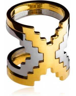Biały złoty pierścionek pozłacany Monica Sordo