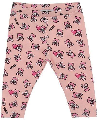 Różowe legginsy bawełniane z printem Moschino