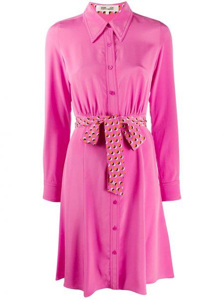 Шелковое розовое платье миди на пуговицах с воротником Dvf Diane Von Furstenberg