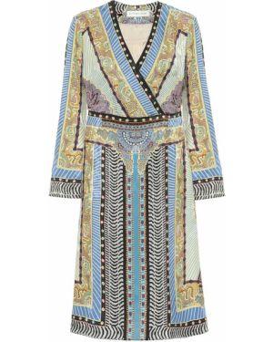 Теплое платье бежевое синее Etro