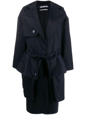 Niebieski płaszcz bawełniany z długimi rękawami Jacquemus