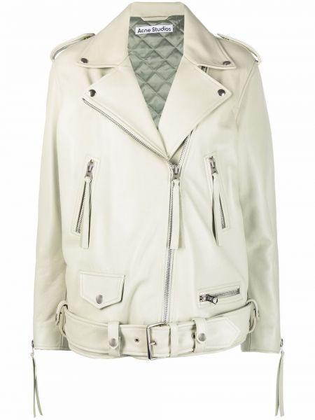Кожаная куртка на молнии - зеленая Acne Studios