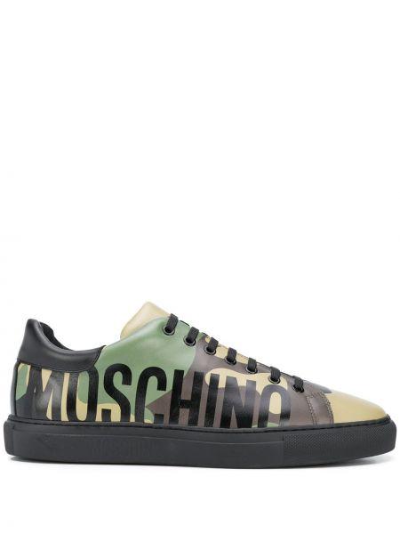 Zielony sneakersy z prawdziwej skóry okrągły zasznurować Moschino