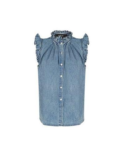 Хлопковая синяя блузка Replay