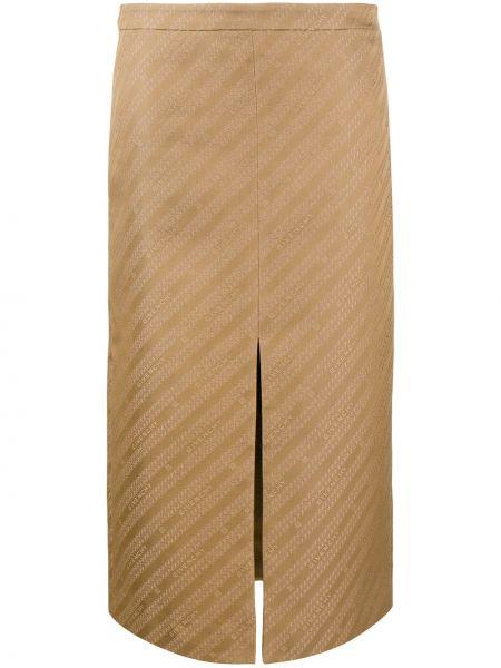 Коричневая с завышенной талией юбка миди на молнии с разрезом Givenchy