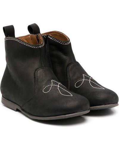 Кожаные черные ботинки на каблуке на каблуке Pépé Kids
