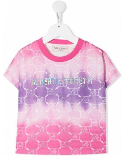 Ватная хлопковая розовая футболка Alberta Ferretti Kids
