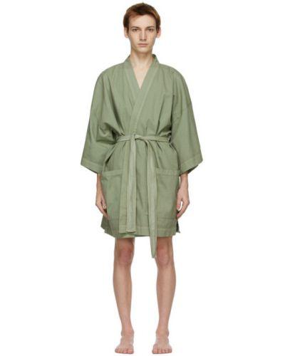 Z rękawami zielony bawełna szlafrok Double Rainbouu