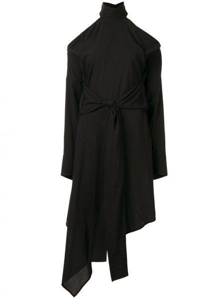 Платье миди с открытыми плечами - черное Strateas Carlucci