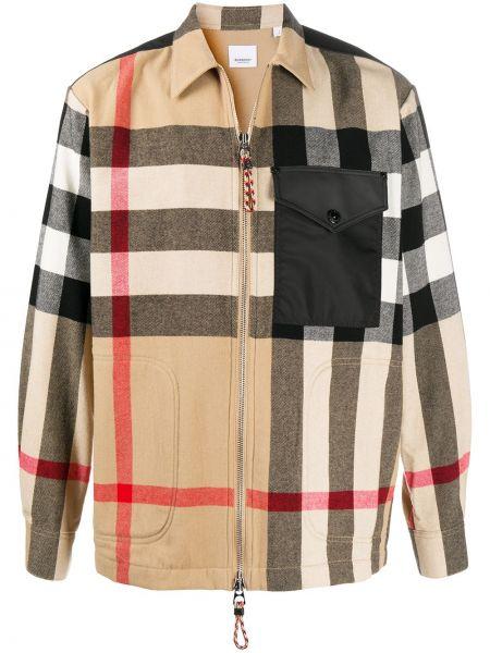 Klasyczny bawełna koszula klasyczna z kieszeniami z łatami Burberry