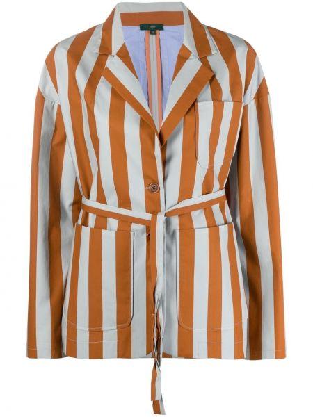 Удлиненный пиджак с накладными карманами в полоску с нашивками Jejia