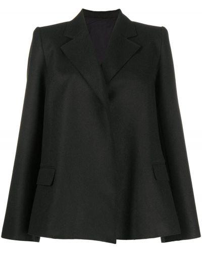 Шерстяной черный пиджак с лацканами Toteme
