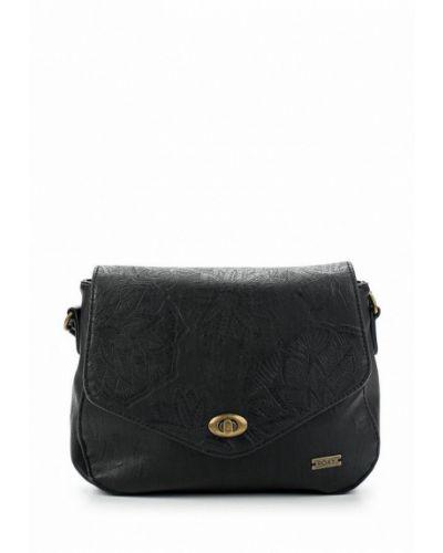 Черная кожаный сумка Roxy