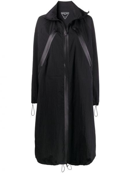 Czarny długi płaszcz z kołnierzem z kieszeniami z długimi rękawami Bottega Veneta