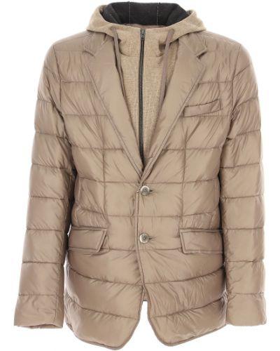 Szary puchaty zimowa kurtka z kieszeniami z klapami Herno
