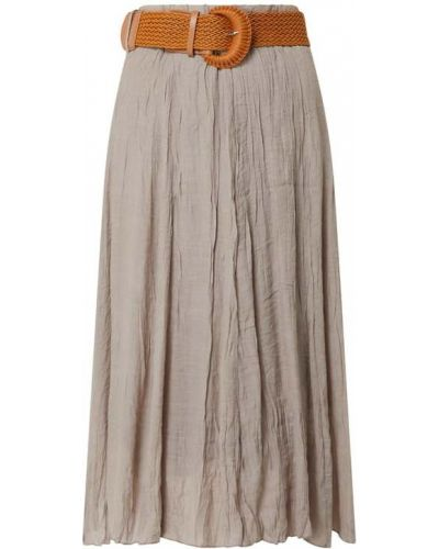 Beżowa spódnica midi rozkloszowana z wiskozy Apricot
