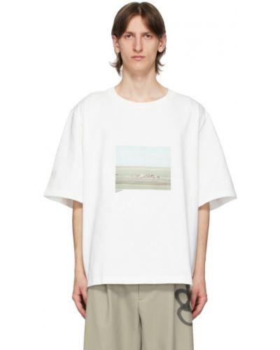 Хлопковая с рукавами белая рубашка с короткими рукавами с воротником Camiel Fortgens